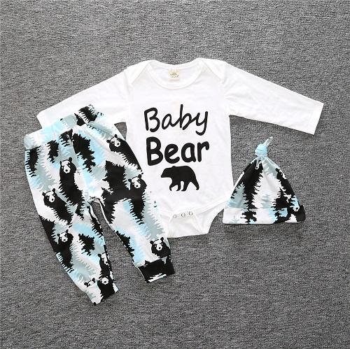 Baby Patterned Outfit 3 Piece Set