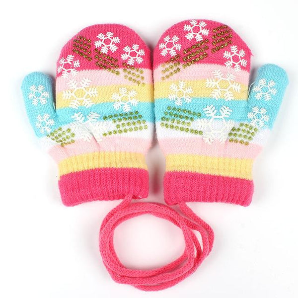 Baby Striped Snowflake Mittens