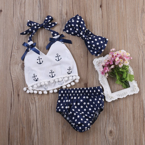 Baby Girls Anchor Halter Top 3 Piece Set