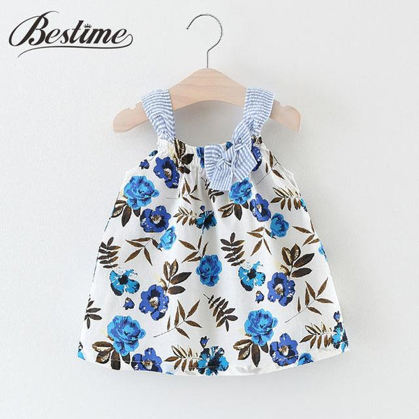Blue Flower Print Dress - FREE TODAY