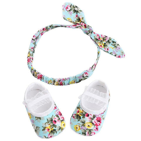Baby Floral Shoe & Headband Set