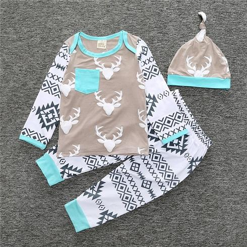 Baby Patterned Pajama 3 Piece Set