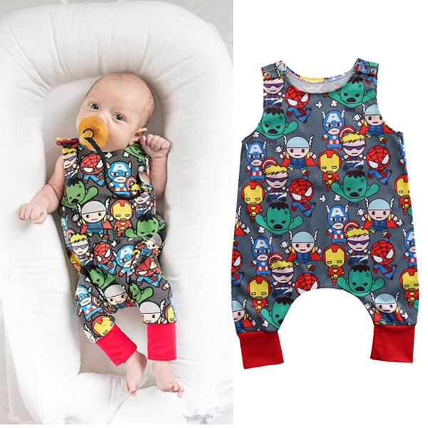 Baby Cartoon Superhero Romper