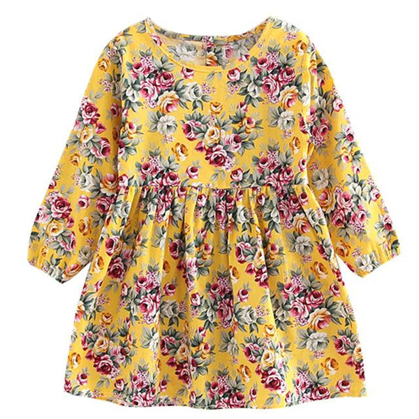Girls Long Sleeve Floral Dress