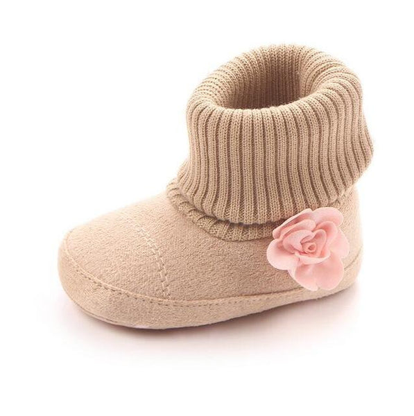 Baby Knit Flower Boots