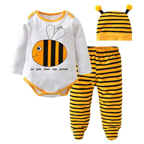 Baby Long Sleeve Printed Onesie 3 Piece Set