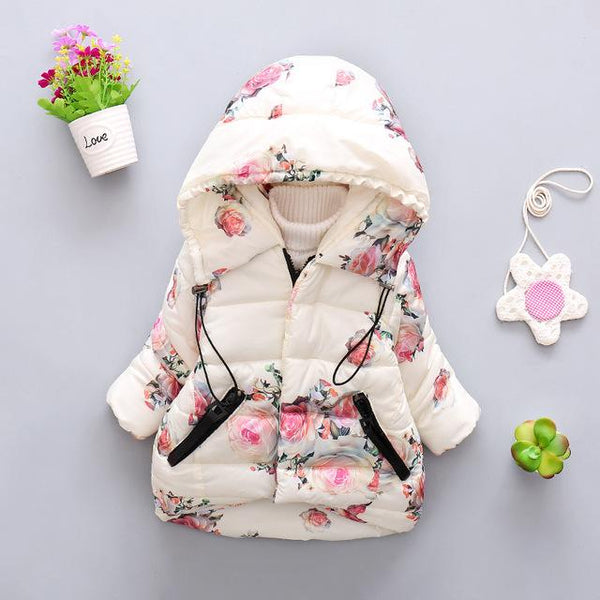 Girls Rose Floral Puffer