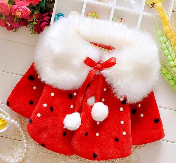 Kids Faux Fur Dotted Coat