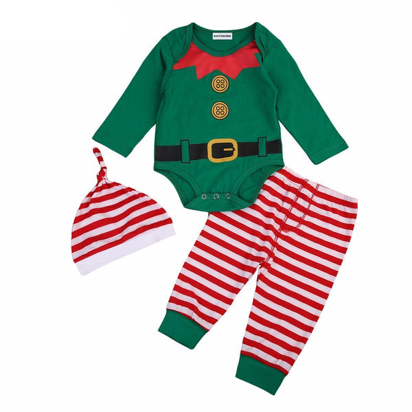 3 Piece Baby Elf Christmas Romper