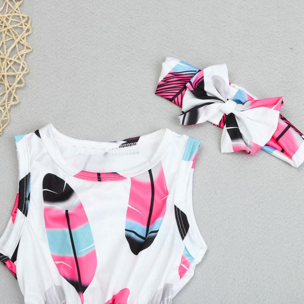 Baby Girls Feather Romper Set