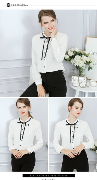 Women's Long Sleeve Bow Blouse