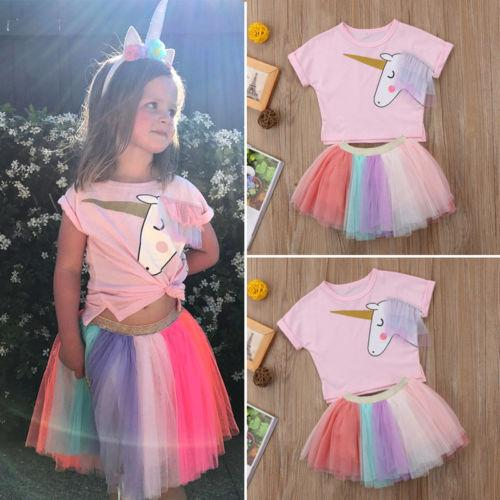 Girls Unicorn Tutu 2 Piece Set