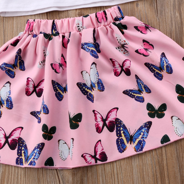 Girls Butterfly Skirt 2 Piece Set