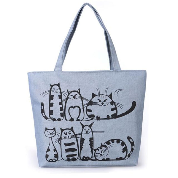 Women's Cartoon Cat Canvas Bag