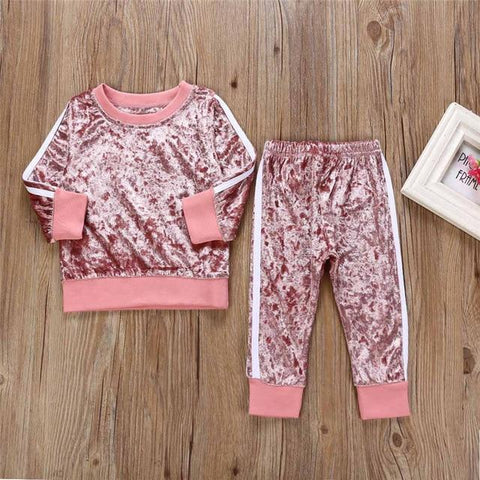 Baby Girls Velvet Track Suit Set