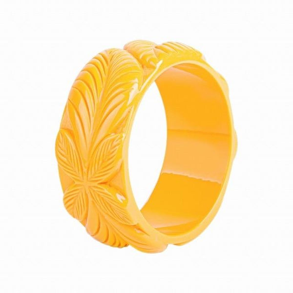 Women's Carved Floral Leaf Bangle Bracelet