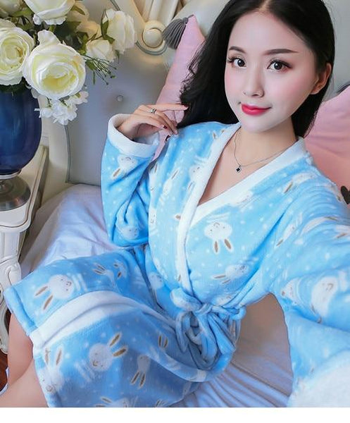 Women's Fuzzy Patterned Bathrobe