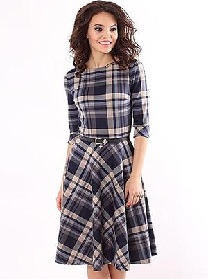 Women's Plaid Belted Dress