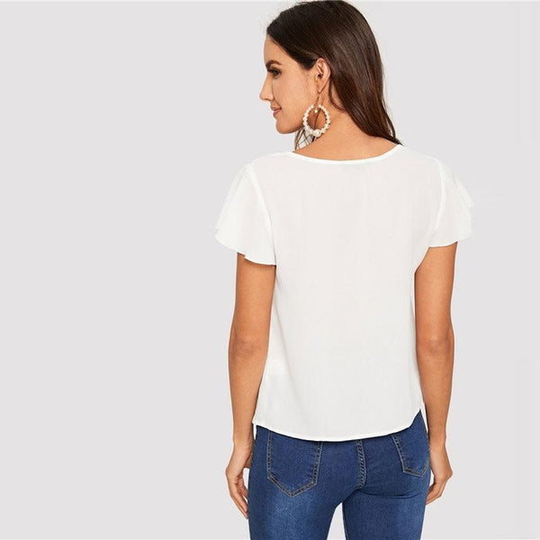 Women's Flutter Sleeve Knot Front Top