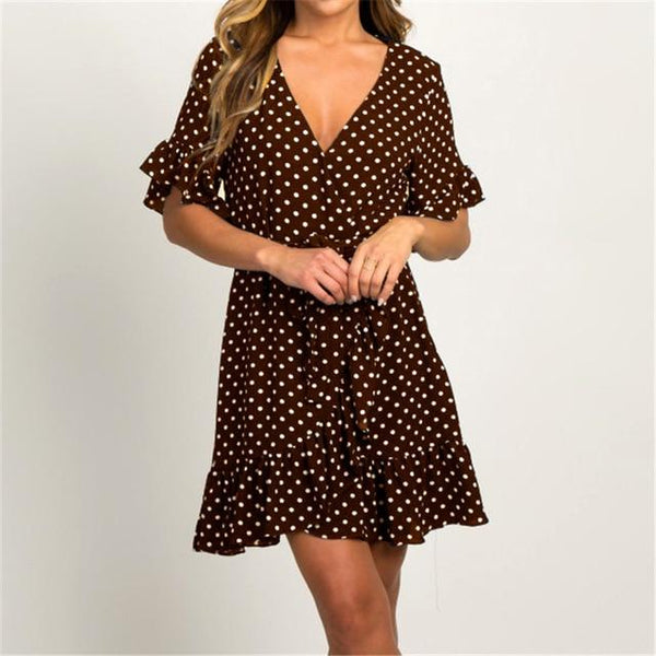 Women's Ruffle Polka Dot Dress