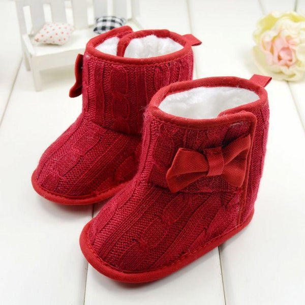 Sweater Knit Bowtie Boots for Infants