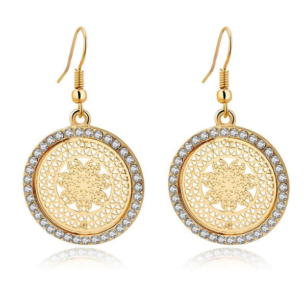 Crystal-lined Round Dangle Earrings