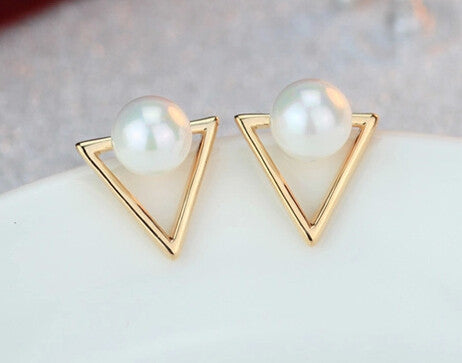 Triangle Drop Pearl Earrings
