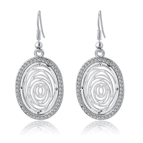 Crystal-lined Oval Dangle Earrings