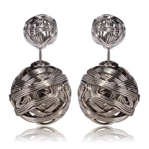 Double Metal Wire Wrapped Sides Stud Earrings 1
