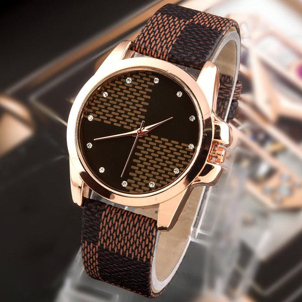 Grid Leather Watch