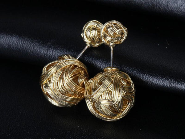 Wire Wrapped Double Stud Earrings