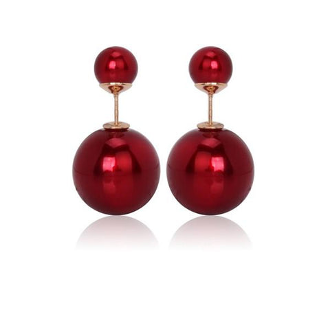 Glossy Double Stud Earrings