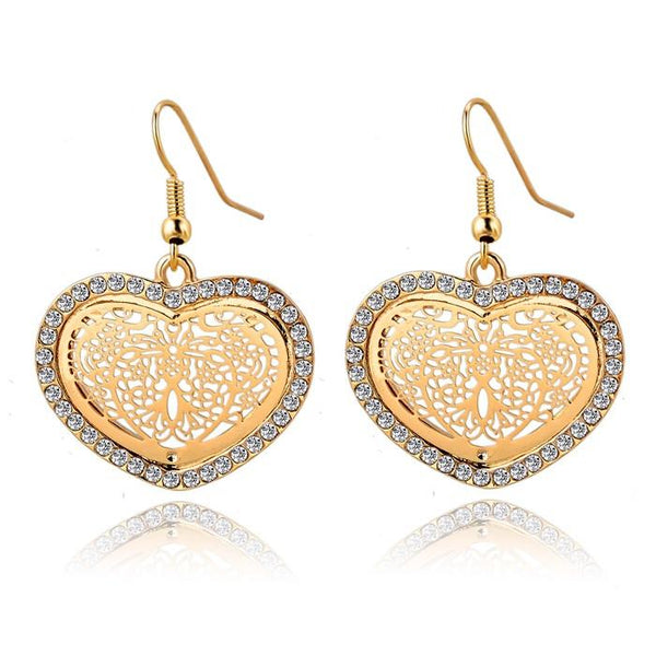 Crystal-lined Heart Dangle Earrings