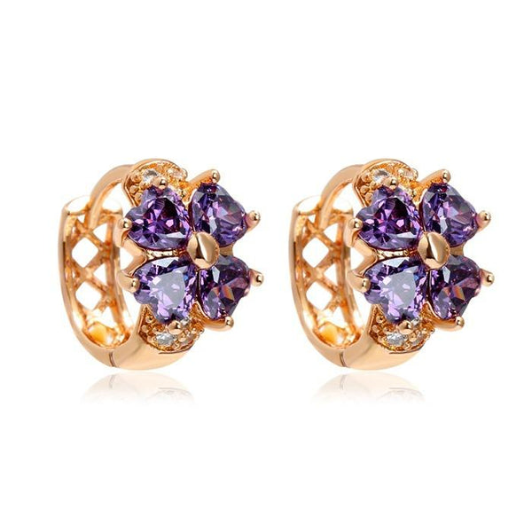 18k Lucky Four Leaf Clover Amethyst Hoop Earrings
