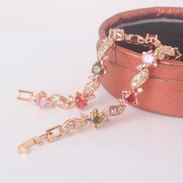 Link Chain Multicolor Gemstone Bracelet