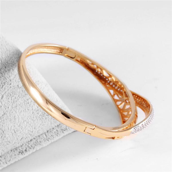 Crystal and Gold Tone Cut-out Bangle