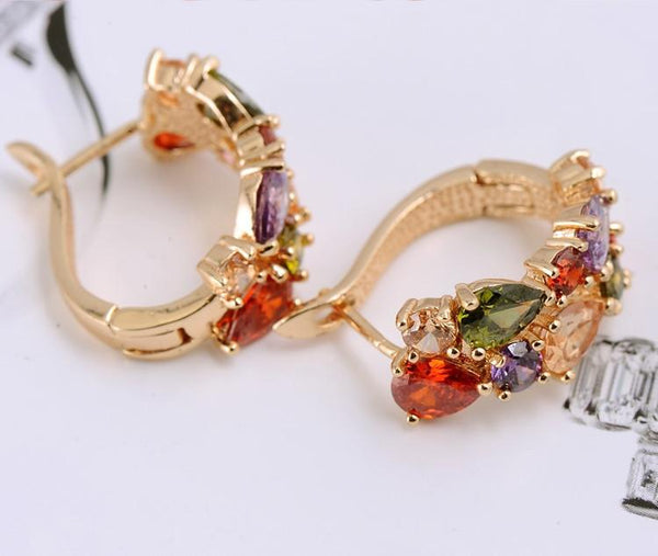FREE Multicolor Gem Earrings - 18K Gold / Rose Gold