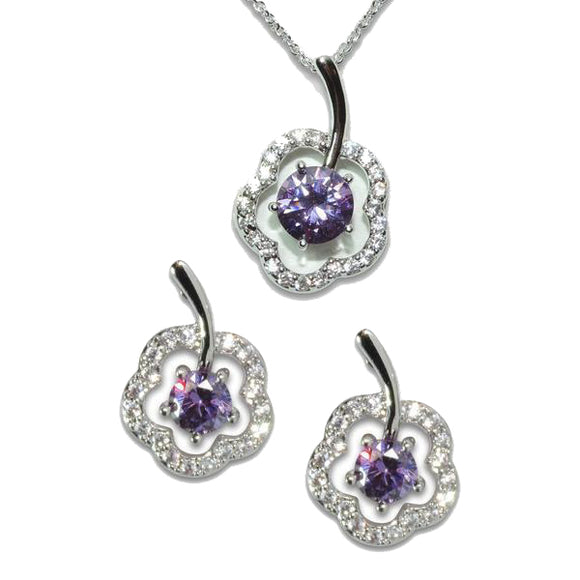 Amethyst Clover Pendant & Earrings