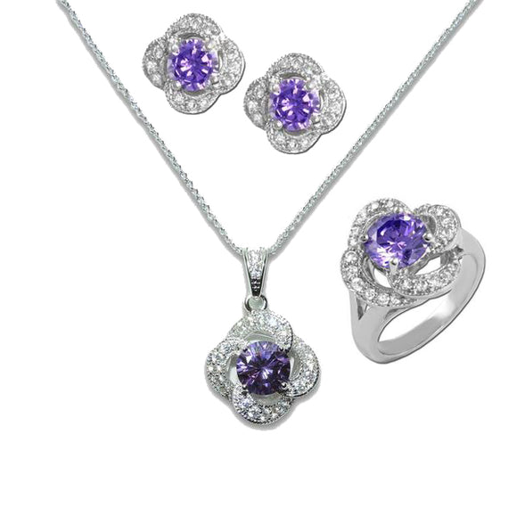 Amethyst Flower Pendant, Ring, & Earrings