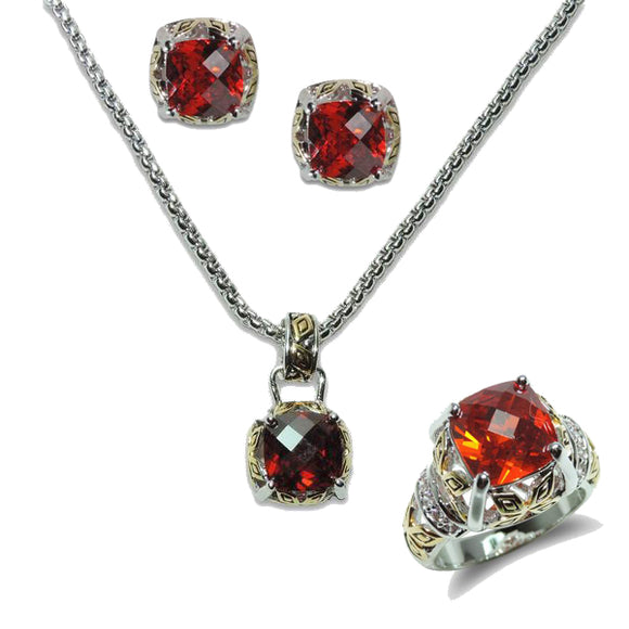 Antique Two-Tone Garnet Pendant, Ring, & Earrings
