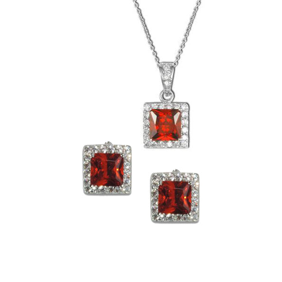 Asscher Cut Garnet Necklace & Earrings