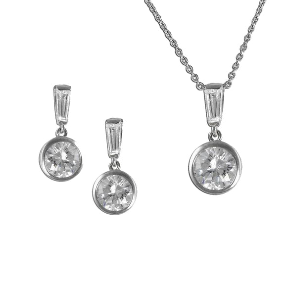 Bezel Set With Baguette Pendant & Earrings