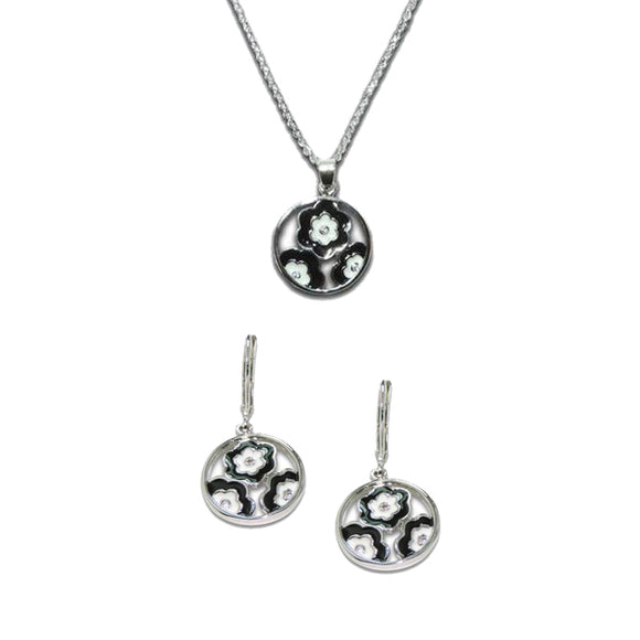 Black & White Enamel Flower Pendant & Earrings