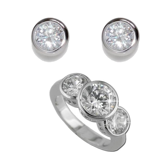 Classic Bezel Set Rounds Ring & Earrings
