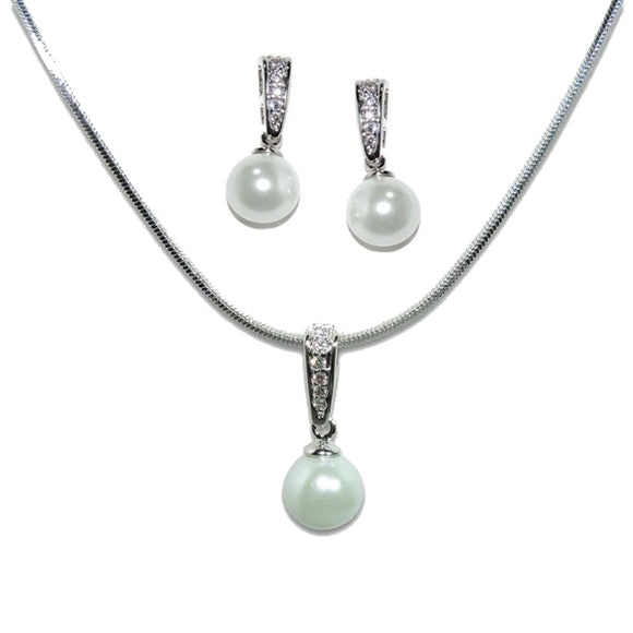 Classic Pearl Pendant & Earrings