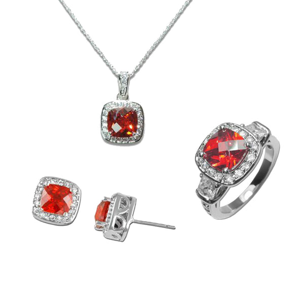 Cushion Cut Garnet Necklace, Ring, & Earrings