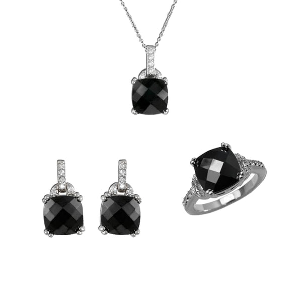 Cushion Cut Jet Pendant, Ring, & Earrings
