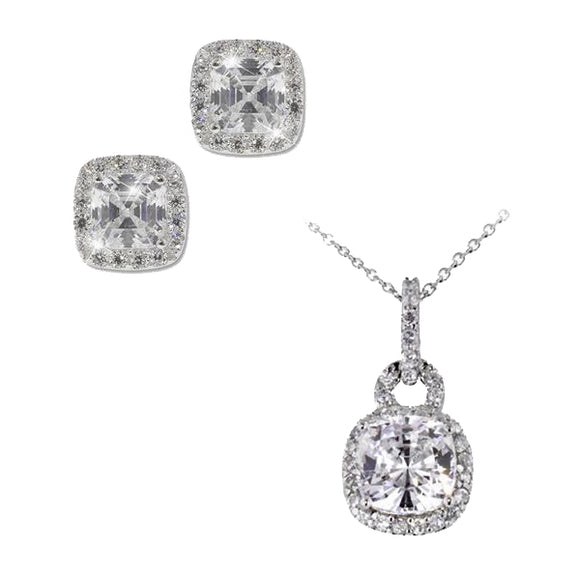 Cushion Cut Pavé Necklace & Earrings