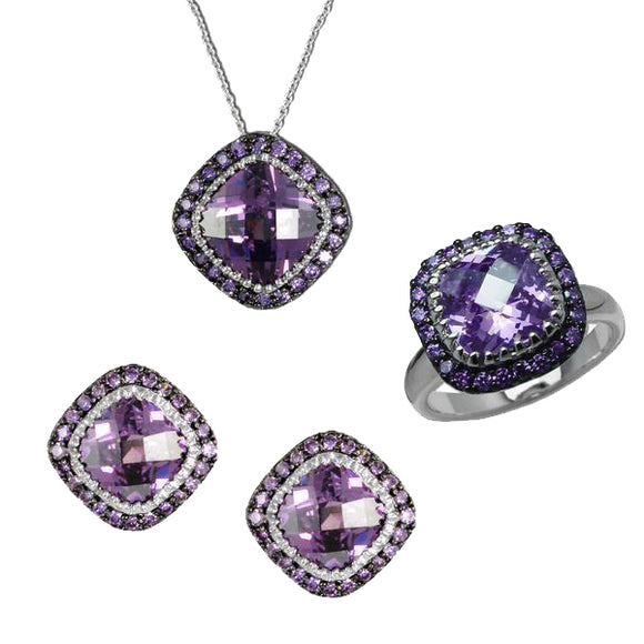 Designer Cushion Cut Amethyst Pendant, Ring, & Earrings