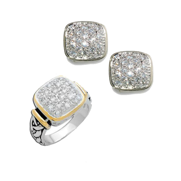 Designer Two-Tone Pavé Square Ring & Earrings